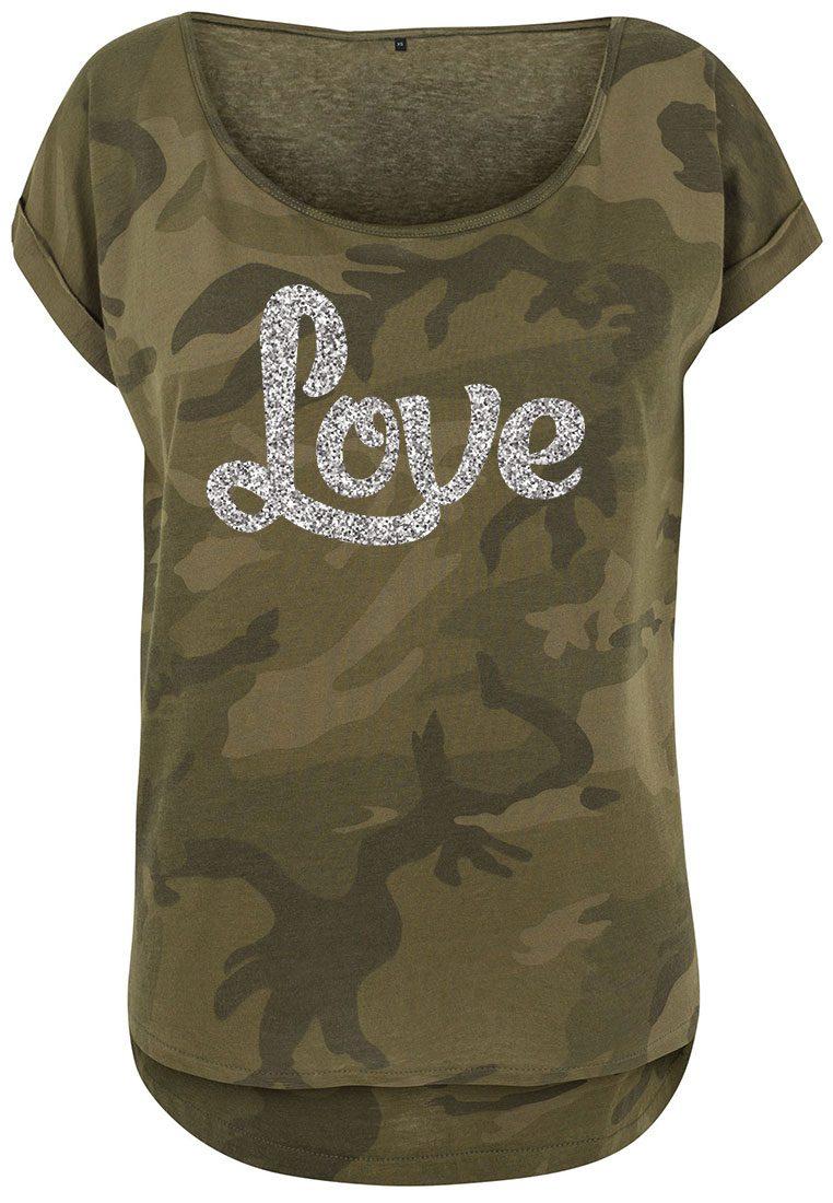 Damen Camouflage T-Shirt Glitzer Love | Camouflage Shirts ...