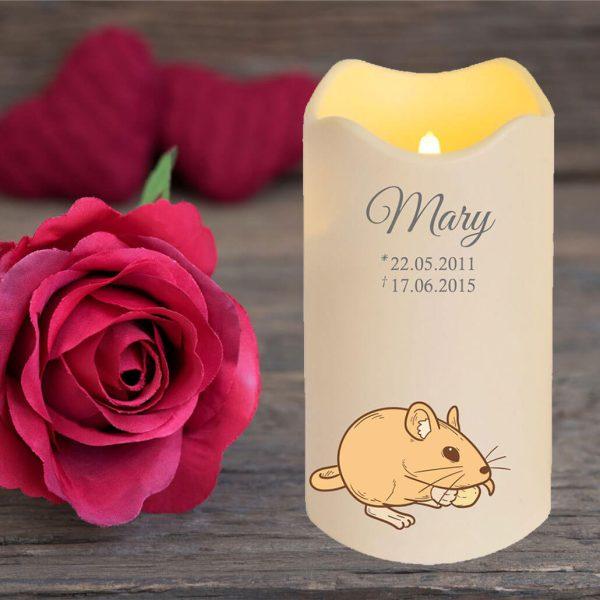 LED Kerze Trauerkerze aus Kunststoff für Tiere Nager