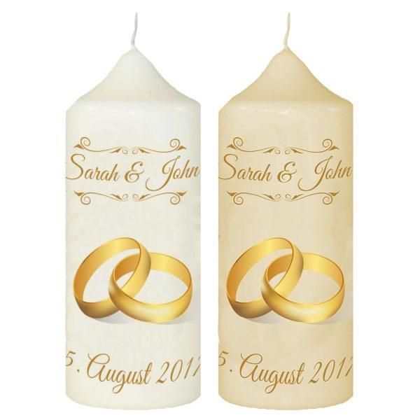 Hochzeitskerze Traukerze mit Namen und Datum Goldene RInge
