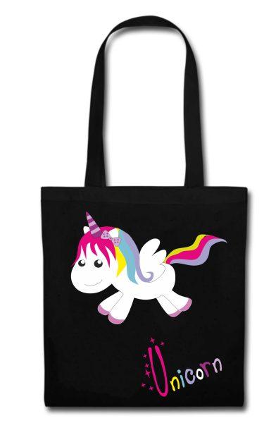 Stofftasche schwarz Unicorn happy