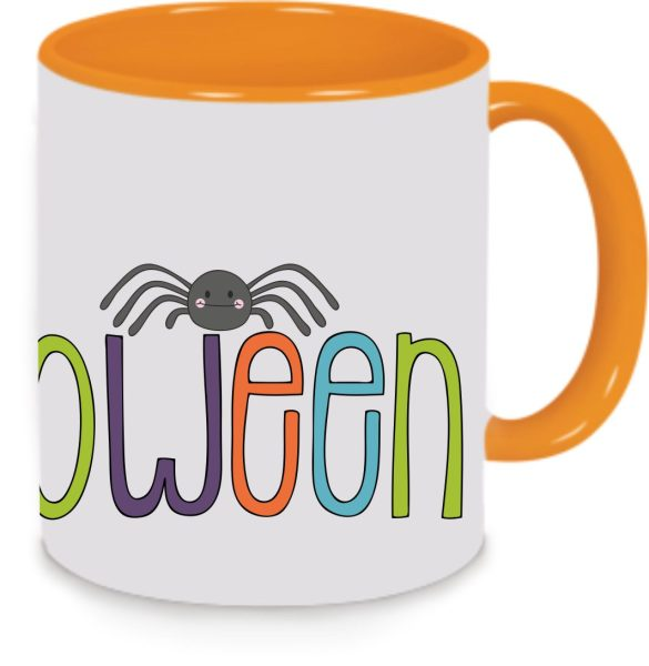 Keramiktasse Tasse Kaffee Tee Becher zu Halloween orange Happy Halloween bunt
