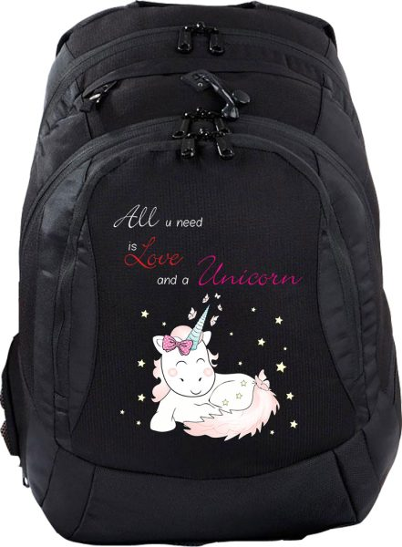 Schulrucksack Teen Compact Einhorn Cutie All you need is Love and a Unicorn