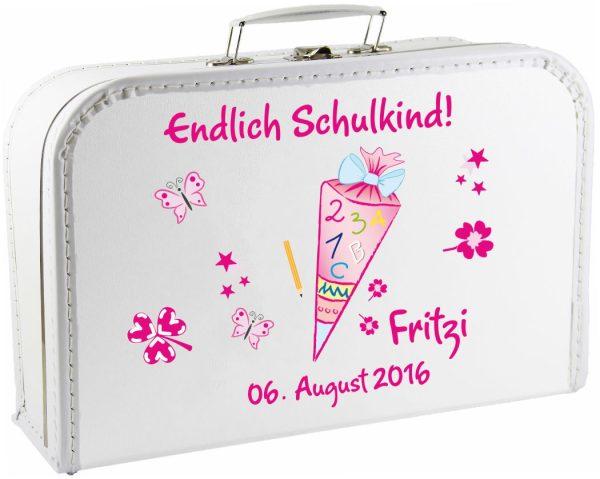 Kinderkoffer Spielzeugkoffer Koffer zum Schulanfang rosa Schultüte Zuckertüte