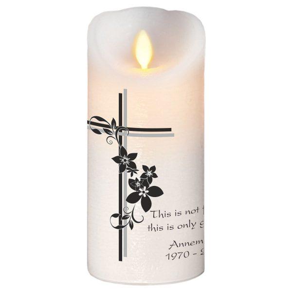 LED Wachskerze Trauerkerze Kreuz mit Blumen