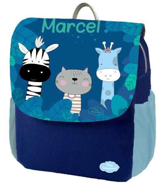 Kindergartenrucksack Happy Knirps NEXT Print mit Name Blau Zebra Katze Giraffe