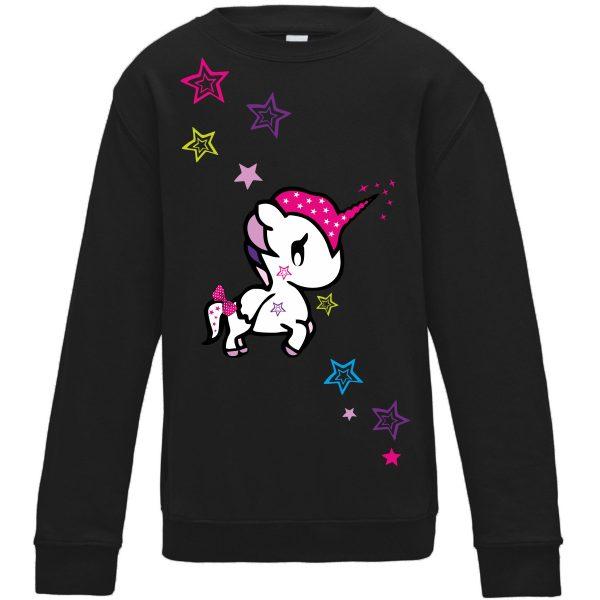 Sweatshirt für Kinder Pullover schwarz Einhorn Funny