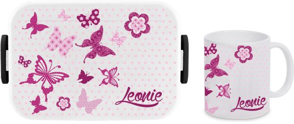 Brotdose Rosti Mepal Lunchbox Big Take A Break large + Tasse - Schmetterling