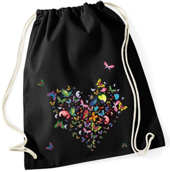 Turnbeutel aus Baumwolle in schwarz mit Schmetterlingherz