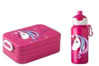 Brotdose Lunchbox Maxi Take A Break midi + Campus Pop-up Trinkflasche Unicorn Einhorn beauty