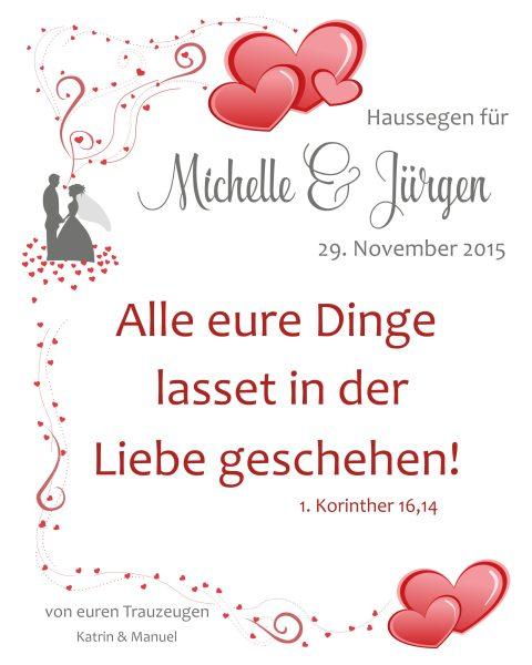 Haussegen zur Hochzeit Geschenk Leinwand 24 x 30 cm Motiv 3