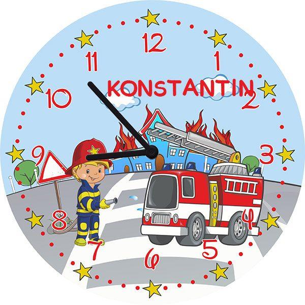 Kinderzimmeruhr Wanduhr Feuerwehr