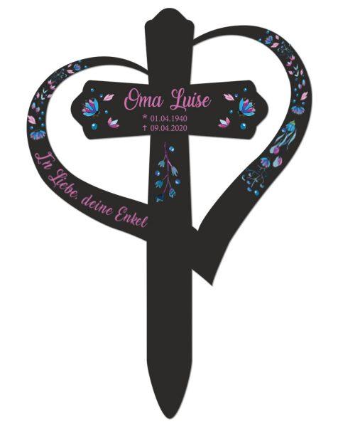 Grabkreuz mit Herz Kreuz mit Blüten