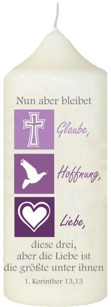 Kerze zur Konfirmation mit Namen und Datum Tugenden 2