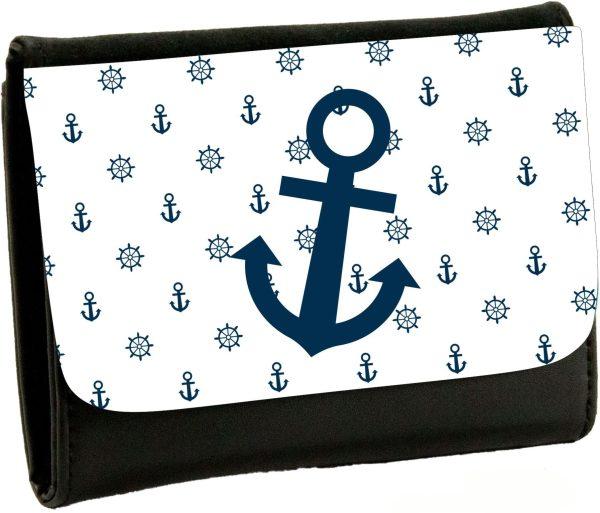 Geldbeutel Portemonaie Maritim Nautical Anker weiss