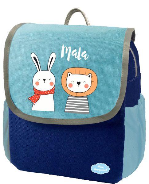 Kindergartenrucksack Happy Knirps NEXT mit Name Blau Hase und Löwe