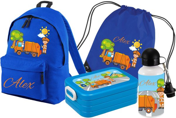 Set 5 Rucksack Junior - Brotdose Maxi - Turnbeutel - Trinkflasche Royal Müllmann