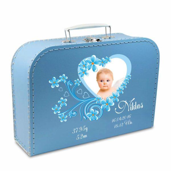Geschenkkoffer mit Foto blau Herz