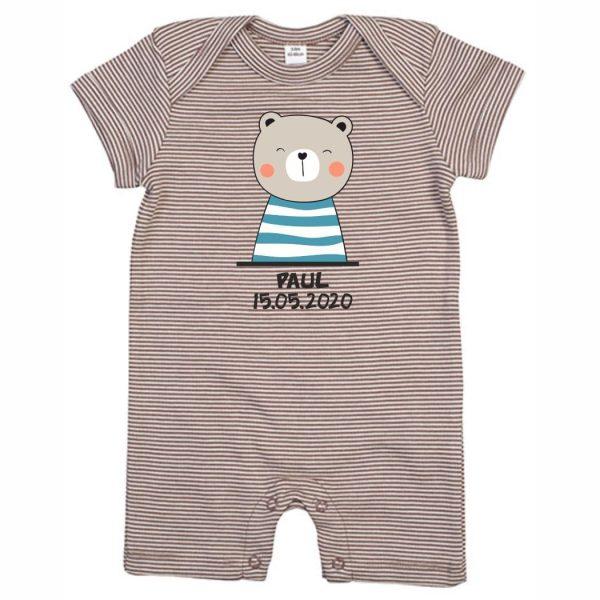 Baby Strampler Bio-Baumwolle Streifen kurze Hose mit Namen Motiv Bär