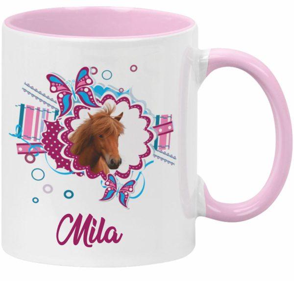 Tasse Rosa Pferdekopf mit Namen