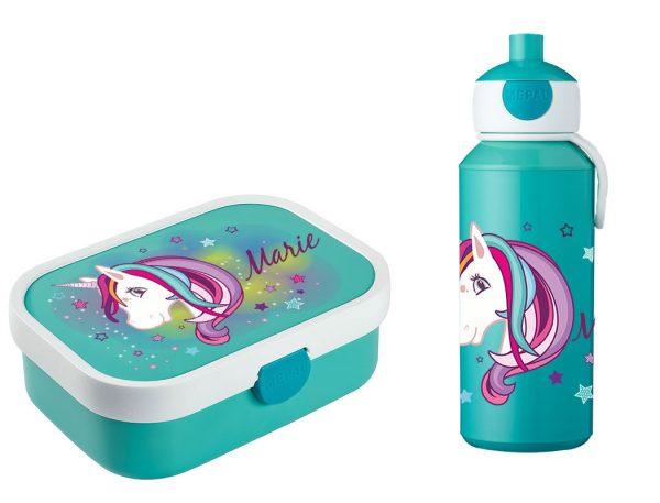 Brotzeitset Mepal Campus + Pop-up Trinkflasche mit Bento Box und Gabel Einhorn Beauty