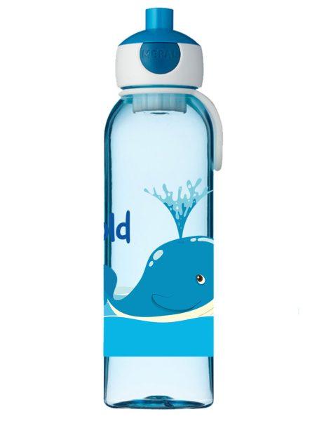 Wasserflasche Mepal Campus mit Name in blau Wal
