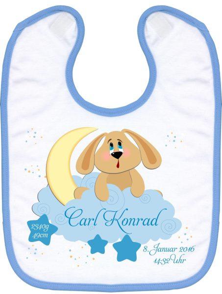 Babylatz blau Hund