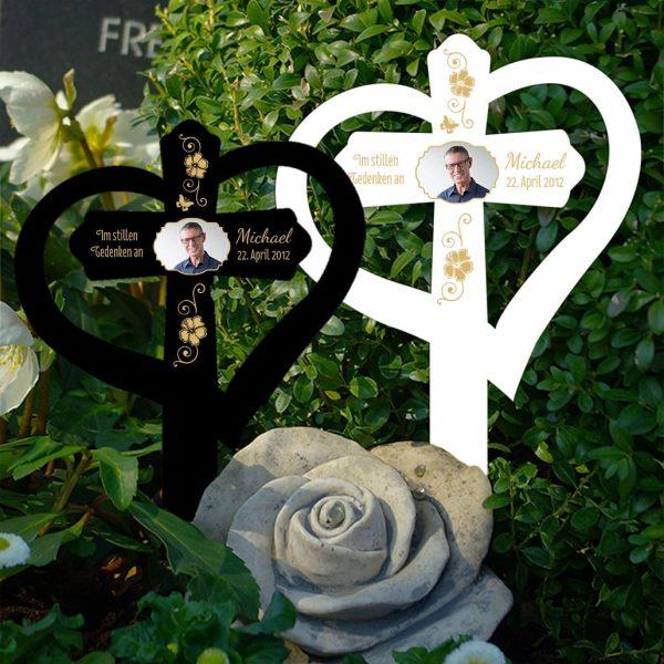 Grabkreuz mit Herz Ranke mit Foto