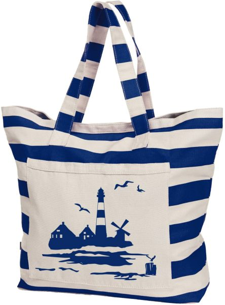 Streifen-Strandtasche Shopper maritim Leuchtturm