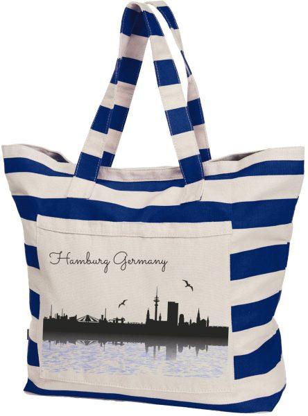 Streifen-Strandtasche Shopper maritim Hamburg Wasser