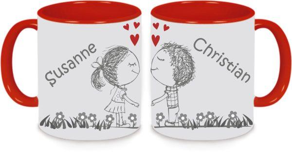 Tassen Twinset rot - Liebespärchen