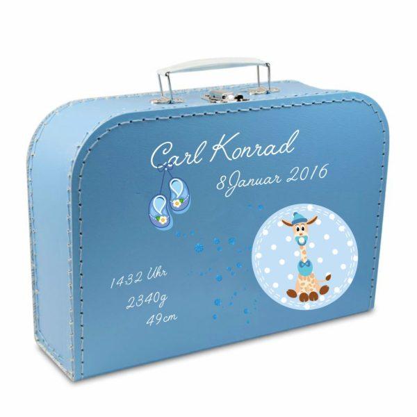 Geschenkkoffer blau Babygiraffe