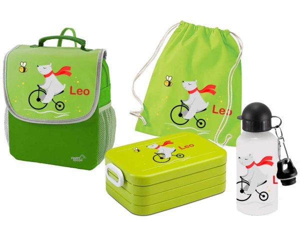 Set 5 Rucksack Happy Knirps NEXT mit Brotdose Maxi, Turnbeutel Baumwolle und Flasche, Grün, verschie