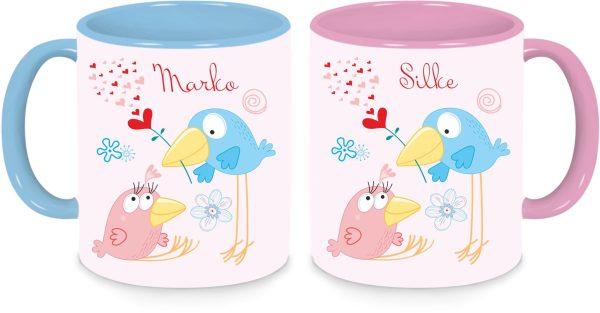 Tassen Twinset in rosa und blau - Vogelhochzeit