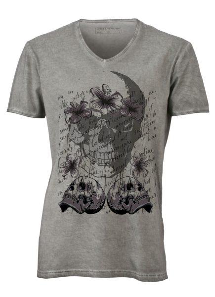 Herren Gipsy V-Neck T-Shirt Totenkopf Blume